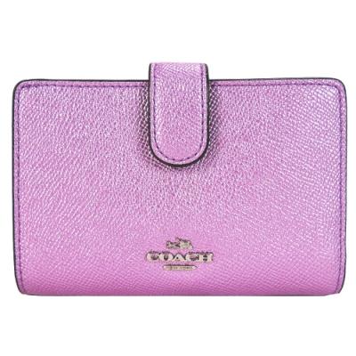 COACH 馬車珠光皮革拉鍊袋中夾(珠光粉紫)(展示品)