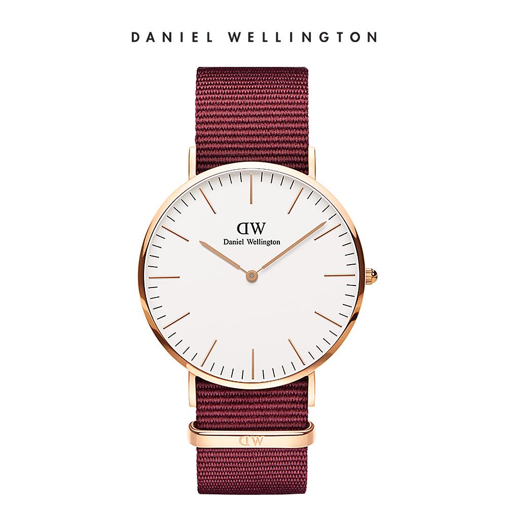 DW 手錶 官方旗艦店 40mm玫瑰金框 Classic 玫瑰紅織紋錶