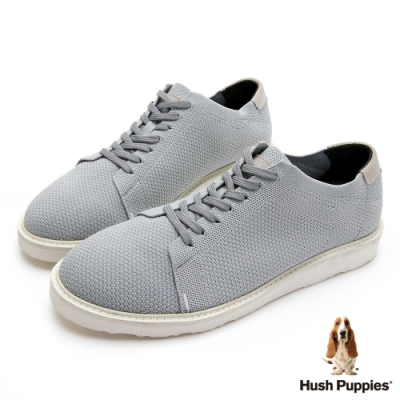 Hush Puppies 防潑水針織休閒男鞋-淺灰