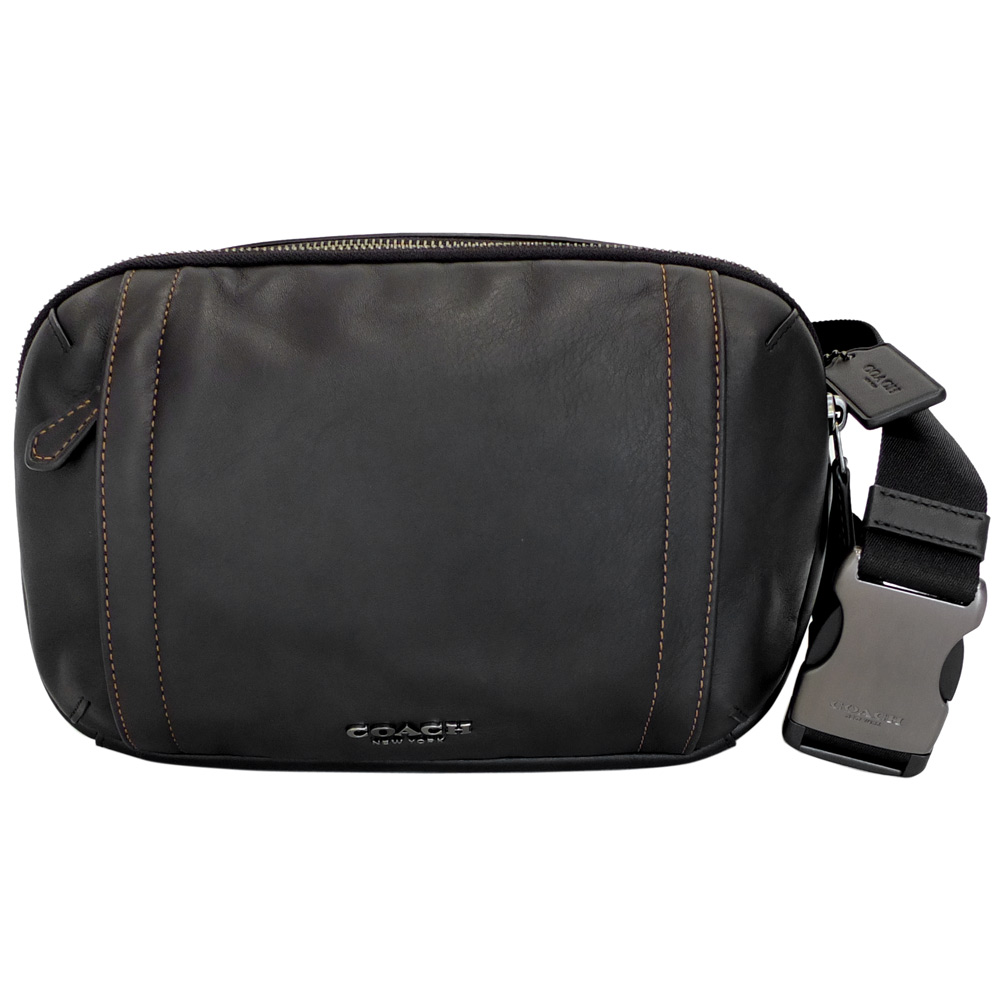 COACH黑色橘線全皮雙層單肩斜後背胸包/腰包多用男包