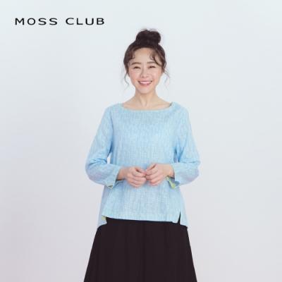【MOSS CLUB】漩渦印花立體剪裁-上衣(藍色)