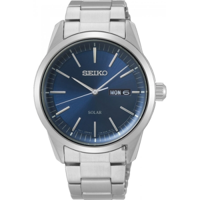 SEIKO精工 CS 太陽能SOLAR 手錶(SNE525P1)-藍x銀/40mm