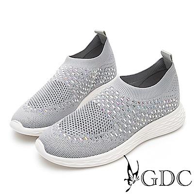 GDC-飛織流行舒適透氣閃鑽休閒鞋-灰色