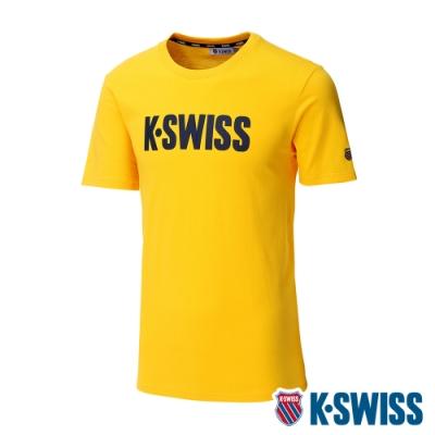 K-SWISS Contrast Logo Tee棉質吸排T恤-男-黃