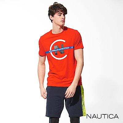 Nautica COMPETITION系列修身彈性短袖T恤-橘紅