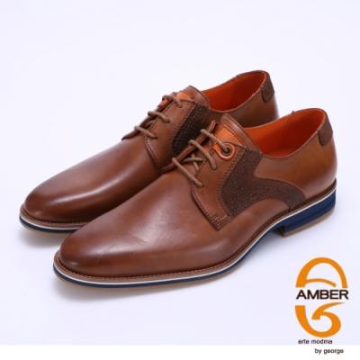 Amber 拼接綁帶紳士皮鞋-棕色