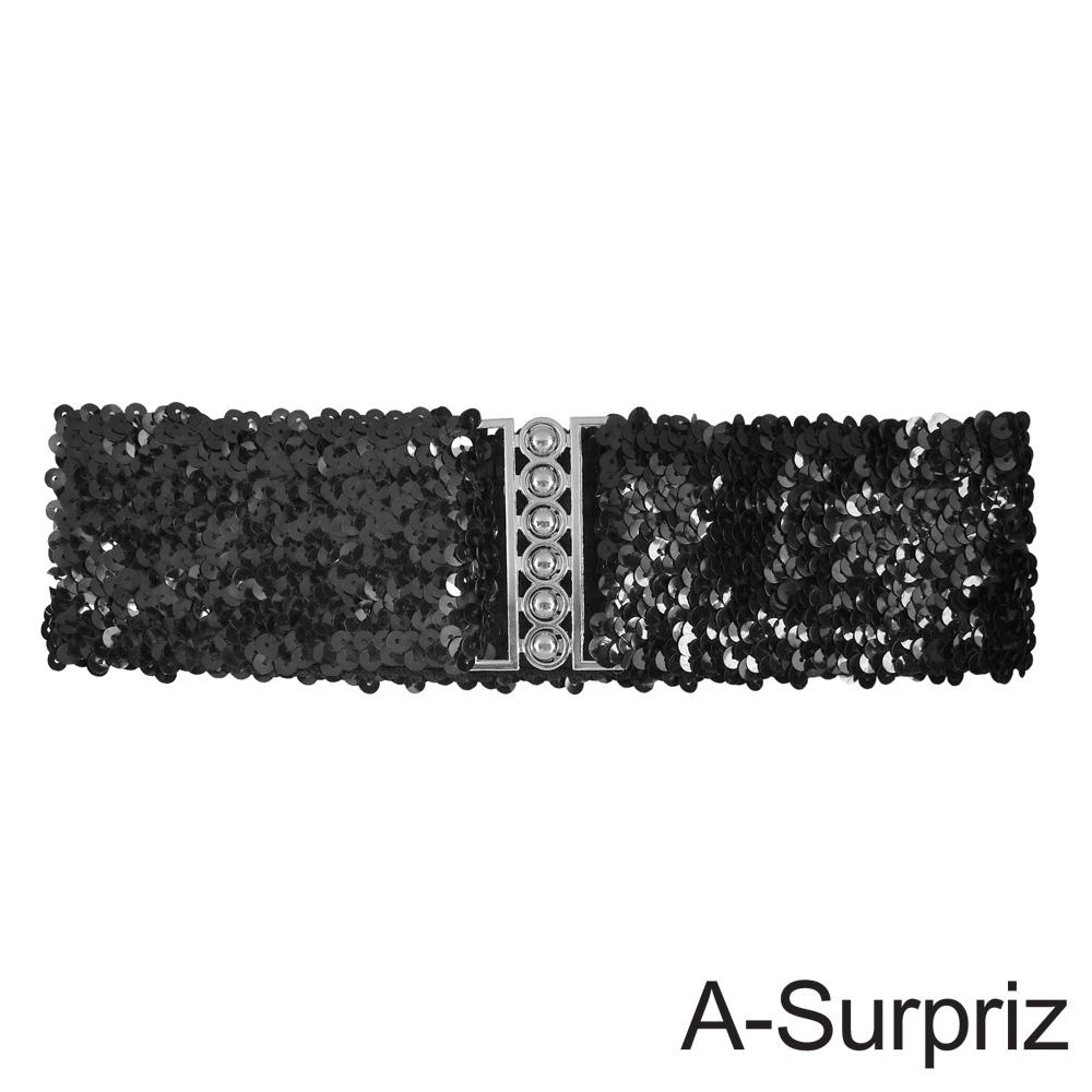A-Surpriz 亮片金屬釦環彈性腰帶(黑)
