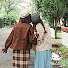 冬日旅行系列~KITTY照片印花袖口繫帶短版風衣外套-OB大尺碼