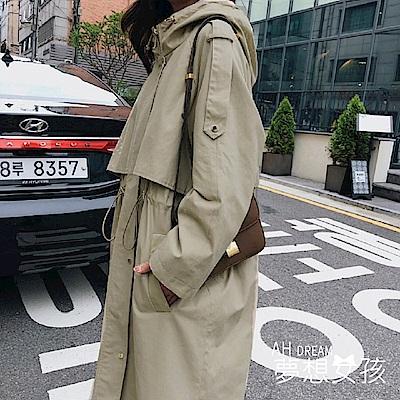AH dream夢想女孩 韓國挺版寬鬆長版顯瘦縮腰抽繩立領西裝外套風衣大衣