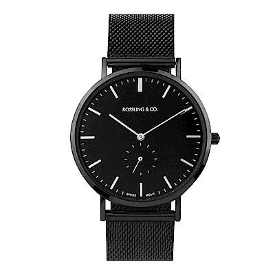 Rossling&Co. 加拿大品牌 單眼系列 黑錶盤x錶框米蘭錶帶40mm