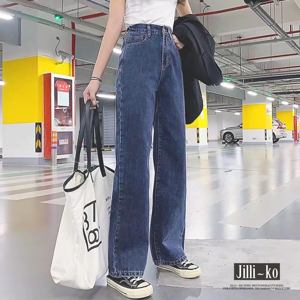 JILLI-KO 後鬆緊腰身直筒牛仔褲- 鬆緊腰深藍/正常腰淺藍