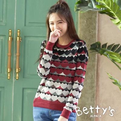 betty's貝蒂思 圓領滿版心型針織上衣(紅色)