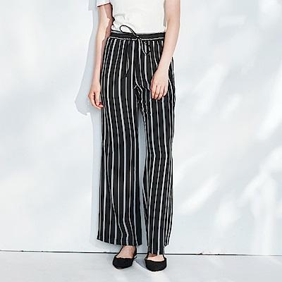 CACO-鬆緊腰條紋長褲-女【PSH191】