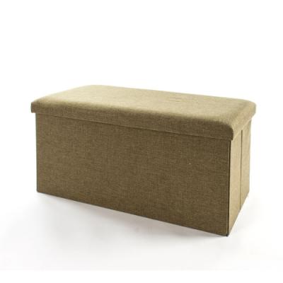 樂嫚妮 棉麻折疊收納椅凳/收納箱/換季-76X38X38cm-綠