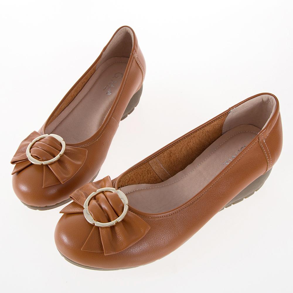 G.Ms. MIT系列-牛皮蝴蝶結楔型小坡跟鞋-棕色
