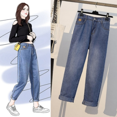 時尚百搭舒適收腰顯瘦色淺牛仔褲XL-5XL-KVOLL