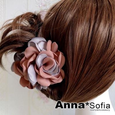 【滿額再7折】AnnaSofia 雙色綻瓣 純手工中型髮抓髮夾(灰茵粉系)