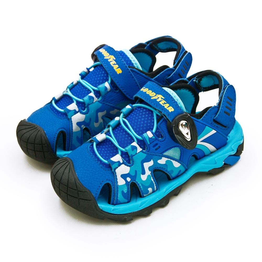 GOODYEAR 固特異 多功能運動磁扣護趾涼鞋 迷彩藍 98976