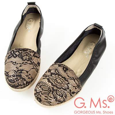 G.Ms. MIT系列-拚接麻編懶人休閒便鞋-蕾絲金