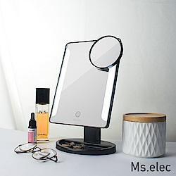 Ms.elec米嬉樂 觸控柔光化妝鏡 黑 桌上鏡 LED化妝鏡