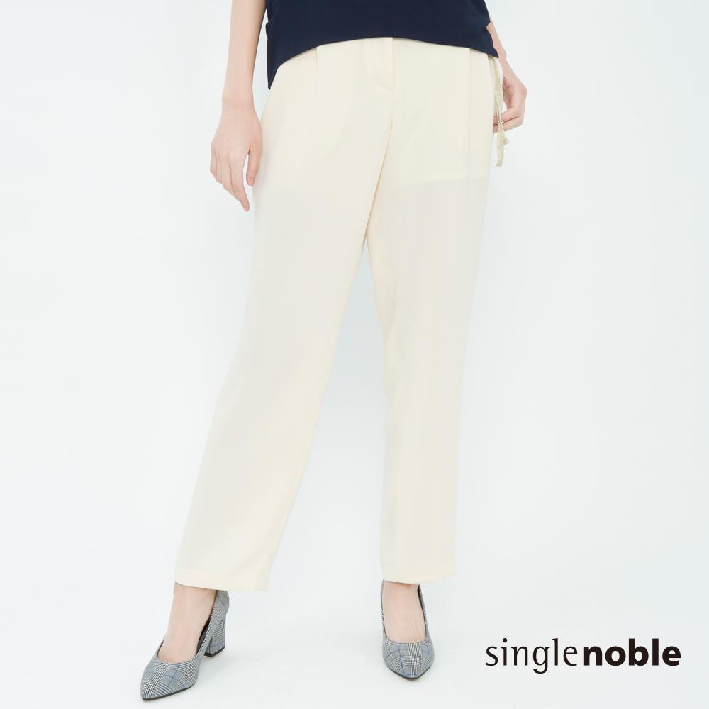 獨身貴族 盛夏晚宴織帶壓褶雪紡直筒褲(2色)