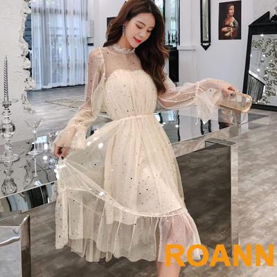 燙金星星透膚網紗中長款洋裝 (共二色)-ROANN