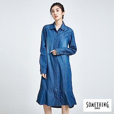 SOMETHING 荷葉裙襬洋裝襯衫-女-拔洗藍