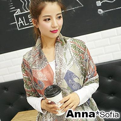 AnnaSofia 波亞圖騰 拷克邊韓國棉圍巾披肩(褐咖系)