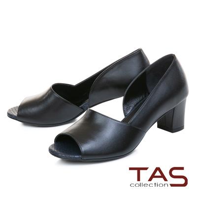 TAS質感素面羊皮側鏤空魚口粗跟鞋-實搭黑