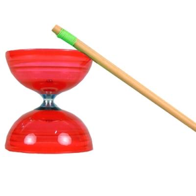 三鈴SUNDIA-台灣製造-炫風長軸三培鈴扯鈴(附木棍、扯鈴專用繩)紅色