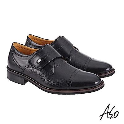 A.S.O職場通勤 萬步健康鞋 魔鬼黏款紳士鞋 黑