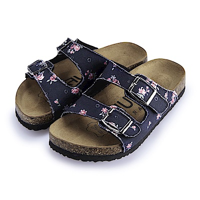 BuyGlasses 雙釦印花兒童拖鞋-藍花