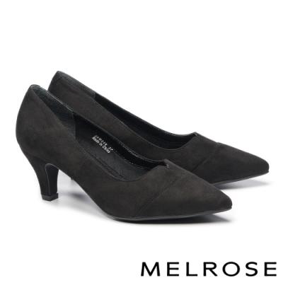 高跟鞋 MELROSE 質感時尚純色拼接尖頭高跟鞋-黑