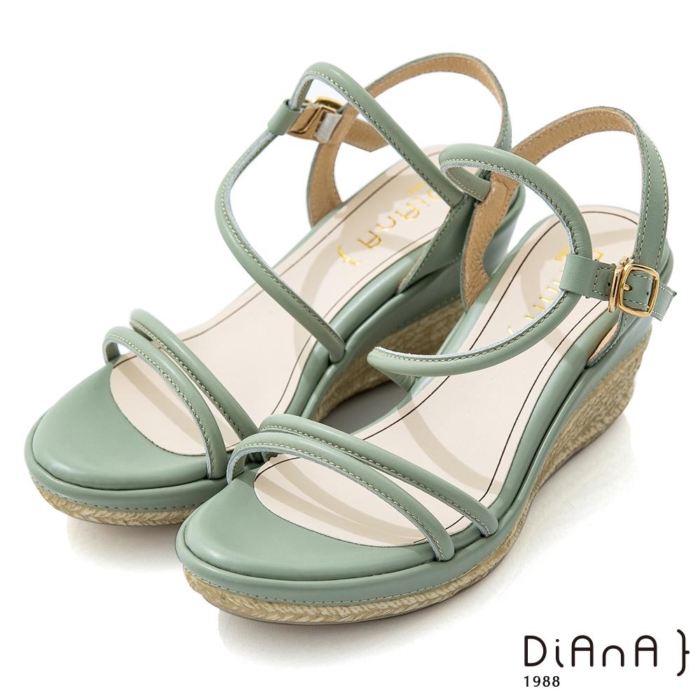 DIANA 8cm 質感牛皮幾何線條繞帶彈力S勾草編楔型涼鞋-簡約樂活-湖水綠