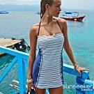 澳洲Sunseeker泳裝法式立體條紋連身式洋裝泳衣