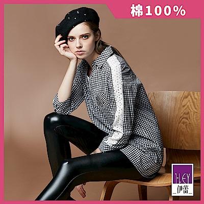 ILEY伊蕾 100%純棉縷空蕾絲拼接格紋長版上衣(黑)