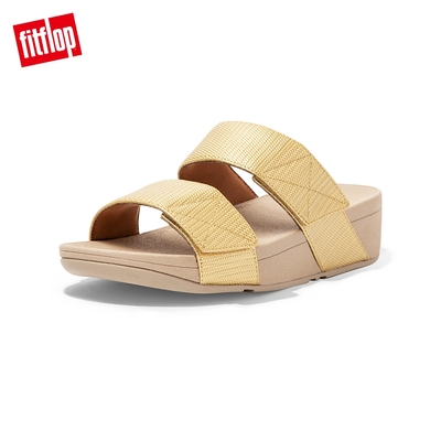 FitFlop MINA TEXTURED GLITZ SLIDES寬帶可調整式涼鞋-女(金鉑色)