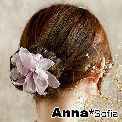 AnnaSofia 層網透花瓣 盤髮棒盤髮器髮圈(粉系)