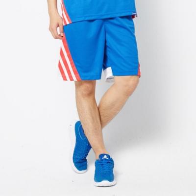 【V-TEAM】男款配色條紋剪接吸濕排汗籃球褲-中藍