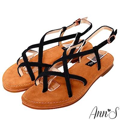 Ann'S水洗牛皮-美式女孩夾腳寬版平底涼鞋-黑