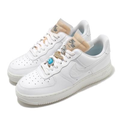 Nike 休閒鞋 Air Force 1 07 運動 女鞋 經典款 AF1 皮革 質感 簡約 寶石造型 白 CZ8101100