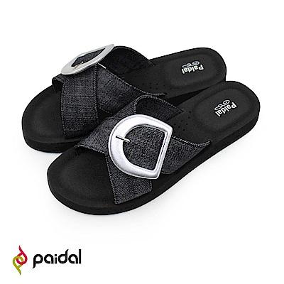Paidal D型扣黑單寧交叉厚底腳床涼拖鞋-黑