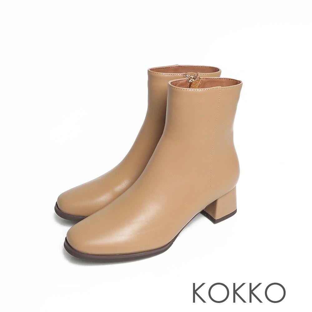 KOKKO時髦方頭霧感粗跟拉鍊牛皮短靴奶茶色