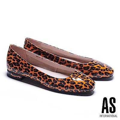 低跟鞋 AS 玩色豹紋超軟牛漆皮方頭低跟鞋-橘