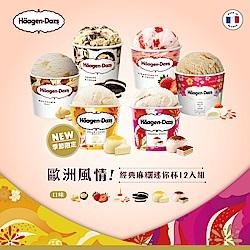 哈根達斯-歐式風情!經典麻糬迷你杯12入組(輕乳酪麻糬/草莓/夏果/巧酥)