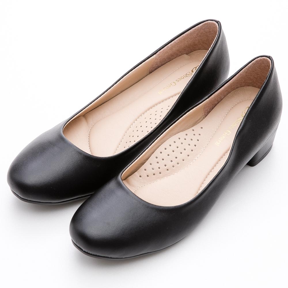 River&Moon跟鞋 台灣製通勤百搭 素面圓頭3.5cm低跟鞋 黑
