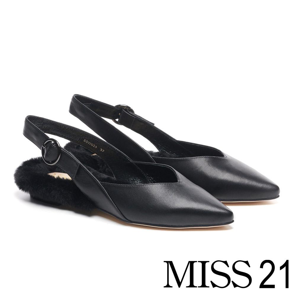 低跟鞋 MISS 21 低調奢華別緻胎羊皮尖頭後繫帶毛毛低跟鞋-黑
