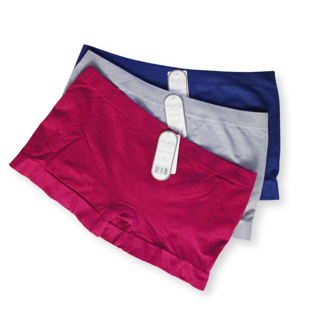 Young Curves 菱格提花低腰平口四角褲(3件組)-C04-200176