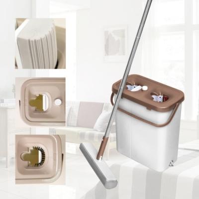 熱銷新專利-多魔潔-洗刷刷免沾手三段膠棉雙槽拖把組