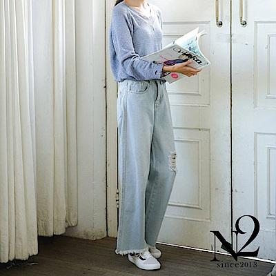 下著 仿舊刷破抽鬚流蘇寬版淺色牛仔褲(圖片色) N2